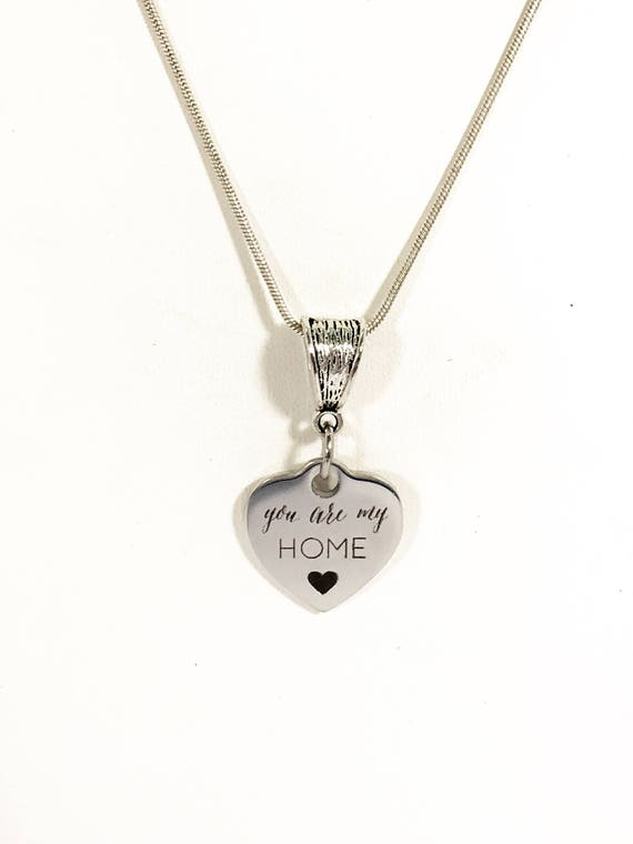Love Necklace, You Are My Home Necklace, Mom Necklace, Wife Necklace, Wife Jewelry Gift, Heart Charm Necklace, You Are My Home Jewelry