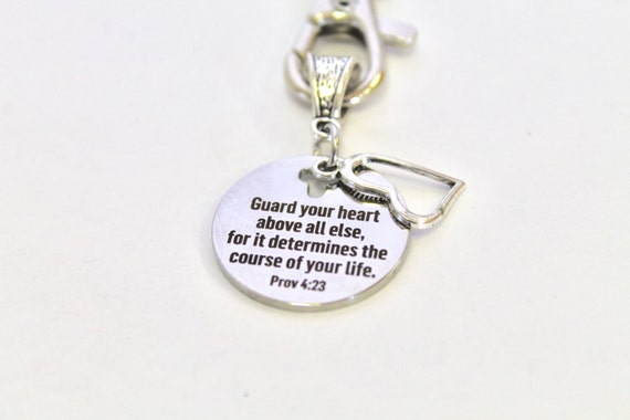 Guard Your Heart Keychain, Prov 4:23 Bible Verse Gift, Gift for Him, Gift For Her, Graduation Gift, Church Youth Group Gift, New Car Gift