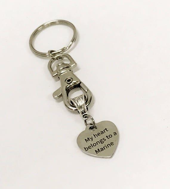 Marine's Wife Gift, My Heart Belongs To A Marine Keychain, New Car Gift, New House Gift, Marine Supporter, Proud Marine Wife Jewelry