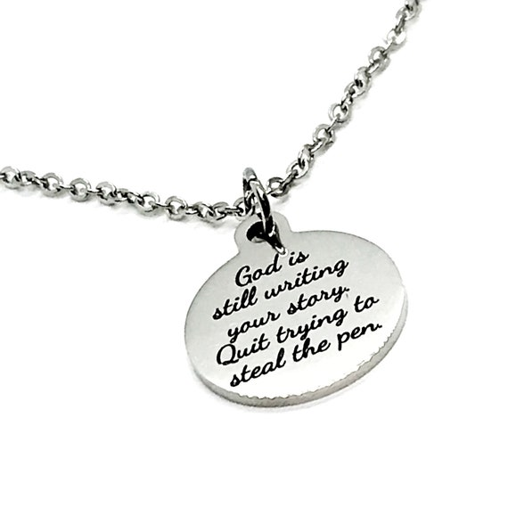 Charm Anklet, God Is Still Writing Your Story, Quit Trying To Steal The Pen Charm, Christian Anklet Gift, Stainless Charm Anklet