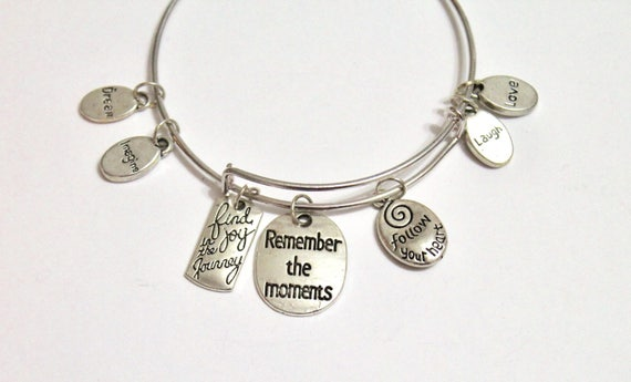 Encouraging Gift, Remember the Moments, Expanding Bangle, Encouraging Charm Bracelet, Daughter Gift For Her, Encouraging Graduation Gift