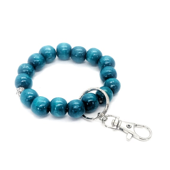 Beaded Keychain Bracelet, Wood Bead Keychain Bracelet, Beaded Bracelet, Teal Blue Beaded Keychain, Teacher Gifts, Keychain Gift