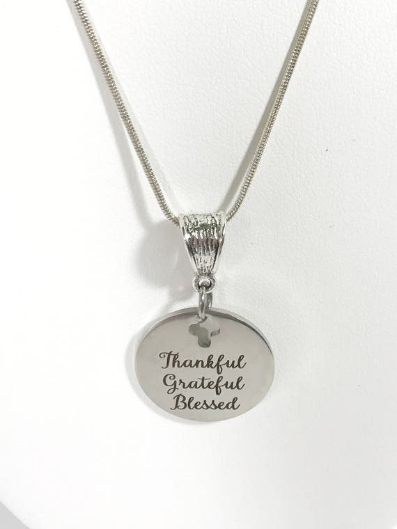 Genuine Leather Leather Pendant Necklace Silver Gifts for her Grateful Thankful Blessed Charm Necklace Plum