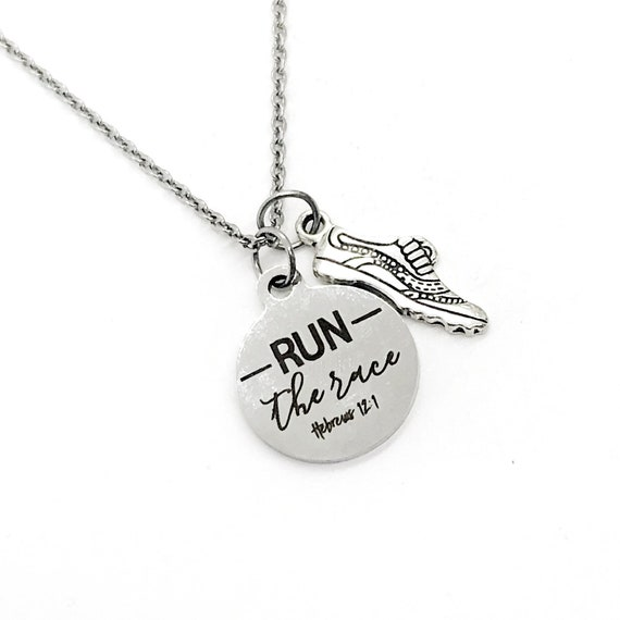 Scripture Gift, Run The Race necklace, Hebrews 12 1 Gift, Runner Jewelry, Jewelry Gift, Bible Verse Gift, Scripture Jewelry, Scripture Quote