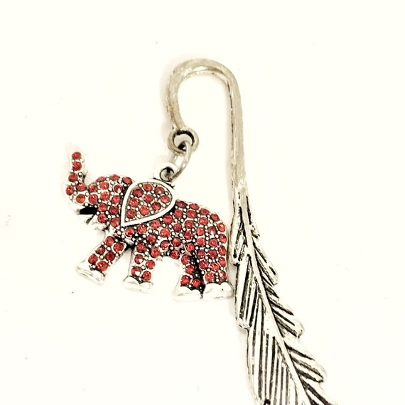 Bookmark Gift, Good Luck Bookmark, Reader Gift, Red Elephant Bookmark, Elephant Gift, Good Luck Gifts, Power Bookmark, College Studies Gift