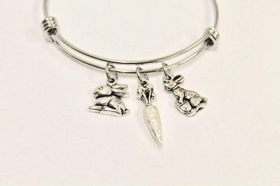 Easter Bunny Rabbit and Carrot Expanding Bangle Charm Bracelet, Easter Bracelet, Easter Jewelry, Daughter Gift, Gift For Her, Rabbit Jewelry