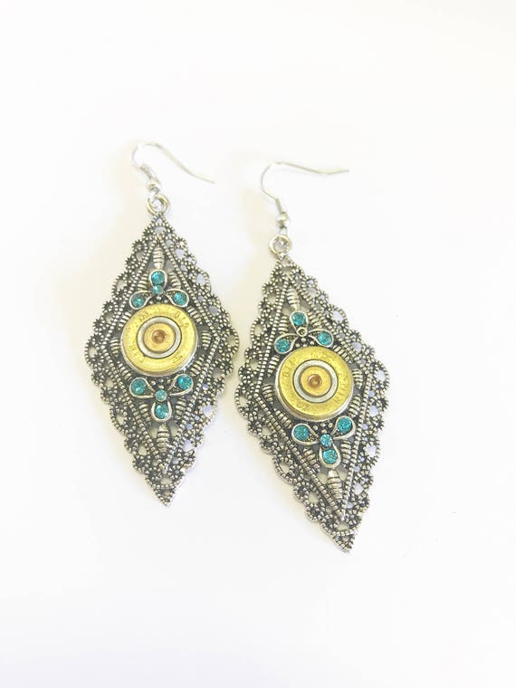 410 Bore Shotgun Shell Earrings, Shooting Sports Jewelry, Silver and Turquoise Earrings, Southwestern Style Statement Earrings Gift For Her