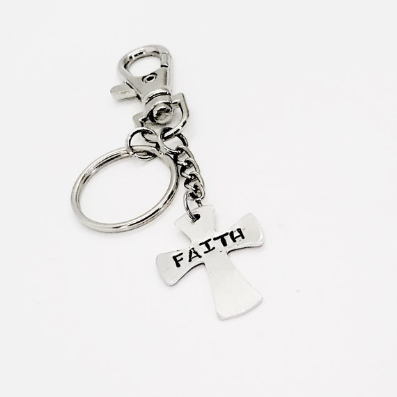 Faith Keychain, Cross Keychain, Faith Gift, Christian Gift, Christian Keychain, Cross Gift, Cross Charm, Clip On Keychain, Personalized Gift