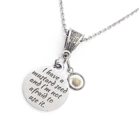 Scripture Gift, Mustard Seed Necklace, Mustard Seed Faith, Matthew 17 20 Quote, Christian Gift, Christian Jewelry, Faith Gifts for Her