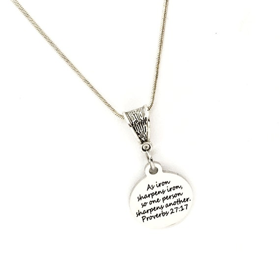 As Iron Sharpens Iron Scripture Necklace, Proverbs 27 17 Charm, Scripture Gift, Scripture Jewelry, Scripture Quote, Faith Gift