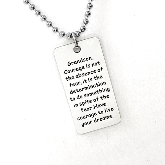 Grandson Gift, Live Your Dreams Necklace, Grandson Necklace, Grandson Courage Gift, Gift To Grandson