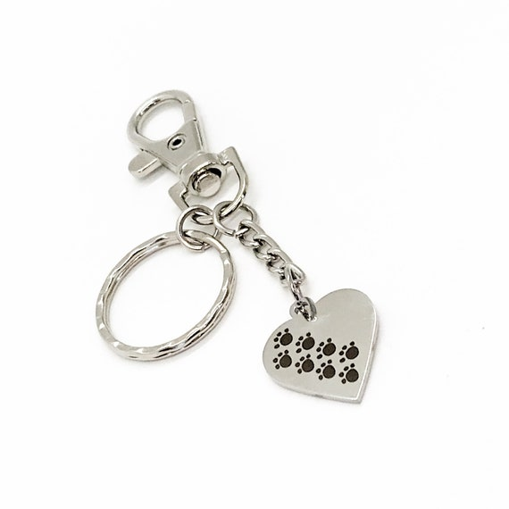Pet Lover Gift, Paw Prints On My Heart Keychain, Dog Lover Gift, Cat Lover Gift, Dog Owner Gift, Cat Owner Gift, Loss of Pet Gift