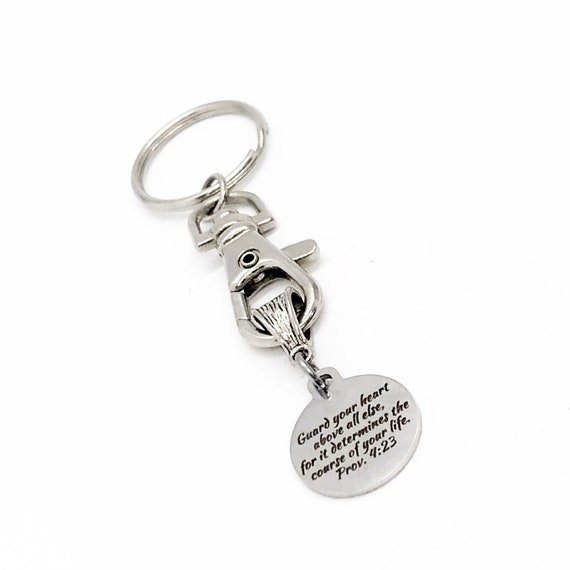 Faith Gift, Guard Your Heart Keychain, Proverbs 4 23, Keychain Gift, Faith Keychain, Christian Keychain, Christian Gift