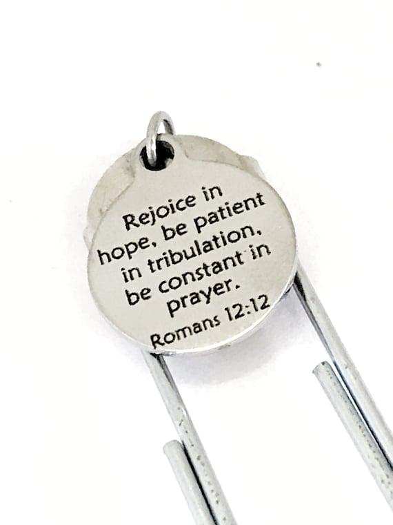 Planner Bookmark, Christian Planner Bookmark, Rejoice In Hope Bookmark, Romans 12 12 Bible Verse, Planner Accessories, Planner Charm