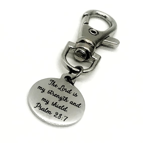 Bag Charm, The Lord Is My Strength And My Shield Bag Clip, Christian Gift, Daughter Gift, Back Pack Charm, Purse Charm, Keychain Charm