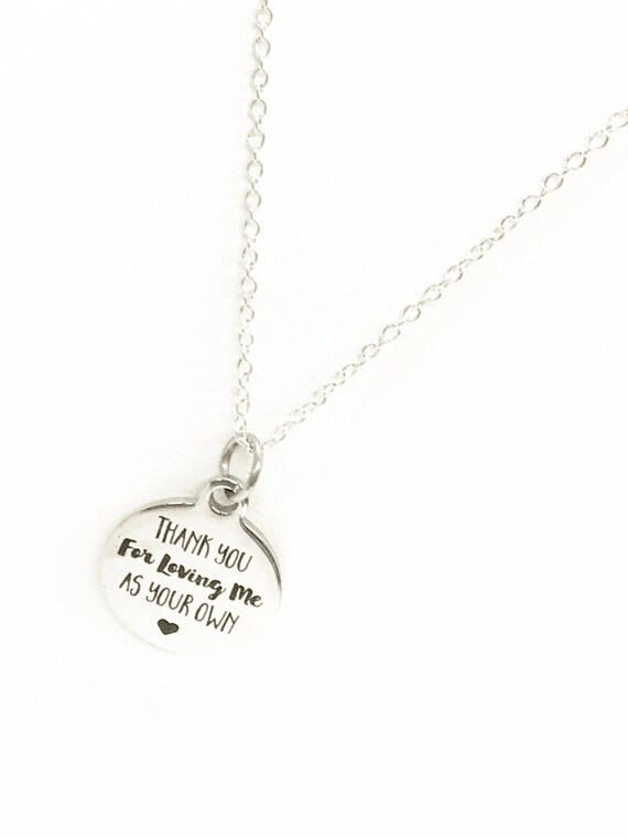 Thank You For Loving Me As Your Own Necklace, Gift For Stepmother, Stepmom Gift, Gift For Mother In Law, Mother In Law Gift, Stepmother Gift