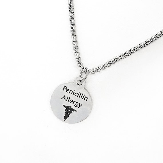 Medical Condition Necklace, Penicillin Allergy Necklace, Penicillin Allergy Notification, Medical Notification Jewelry, Medical Charm