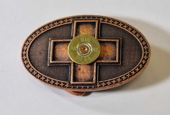 Copper Shotgun Shell Cross Belt Buckle, Southwestern Style, Gift For Her, Girlfriend Gift, Valentines Day Gift, Valentine Gift; Country