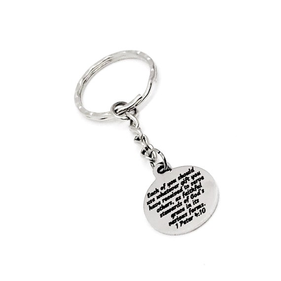 Scripture Gift, Each Of You Should Use Your Gifts, Christian Gift, 1 Peter 4 10 Keychain, Scripture Quote, Bible Verse Gift
