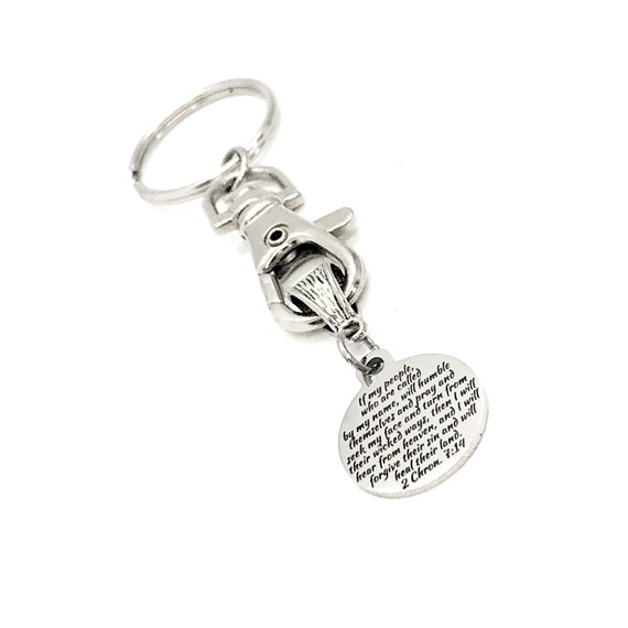 Scripture Gift, If My People Will Pray, I Will Heal Their Land, 2 Chronicles 7 14 Keychain, Scripture Keychain, Faith Gifts, Bible Verse