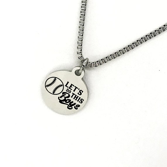 Man Necklace, Baseball Player Necklace, Let's Do This Boys Necklace, Baseball Son Gift, Son Necklace, Son Motivation Gift