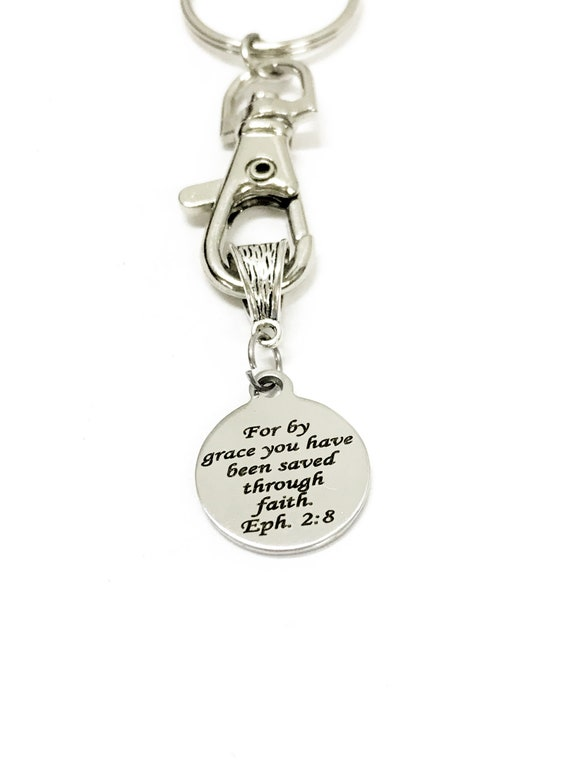 Christian Gifts, Christian Keychain, Saved By Grace Through Faith, Christian Charm, Baptism Gifts, Confirmation Gifts, Bible Verse Gifts