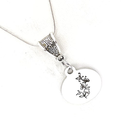 Birth Month Flower Necklace, September Morning Glory Necklace, Birthday Gifts, Birth Month Necklace, Gift For Her, Daughter Gift, Wife Gift