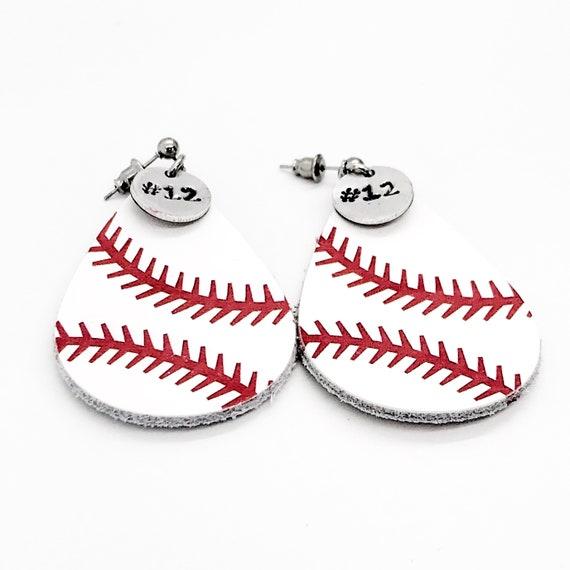 Baseball Gifts, Baseball Earrings, Baseball Mom Gifts, Player Number Earrings, Baseball Jewelry, Girlfriend Gifts, Baseball Team Mom Gifts