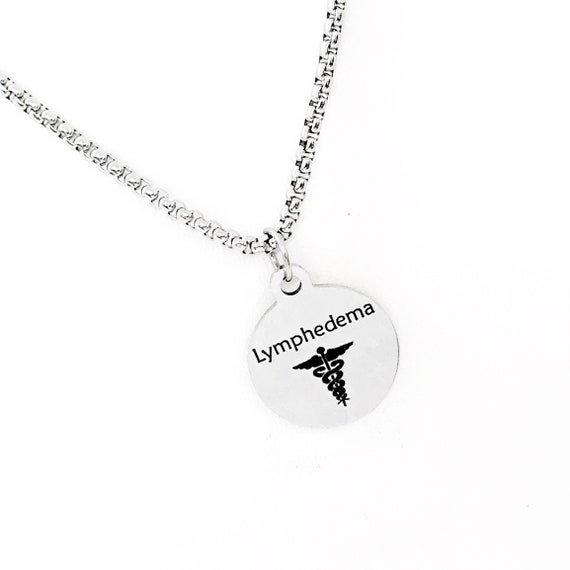 Medical Condition Necklace, Lymphedema Necklace, Lymphedema Notification, Medical Notification Jewelry, Medical Charm, Medical Caduceus