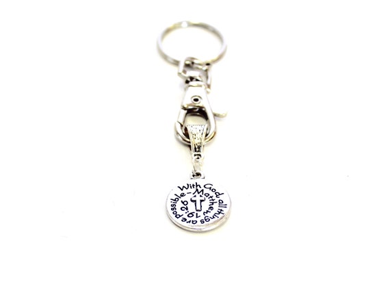 With God All Things Are Possible Keychain;  Matthew 19:26 Bible Verse Gift, Gift For Her, Graduation Gift, Motivational Gift for Him