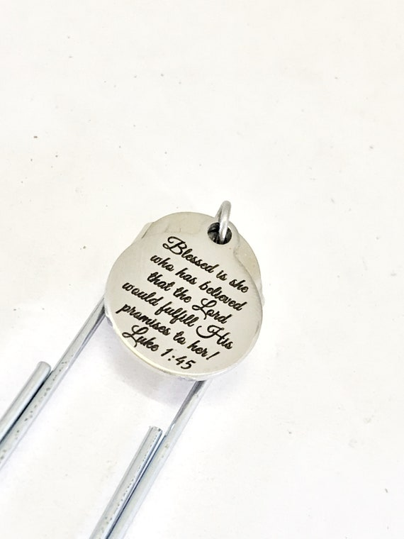 Planner Clip, Christian Clip Bookmark, She Is Blessed, Luke 1 45 Clip, The Lord Will Fulfill,  Bible Verse Bookmark, Planner Charm Gift