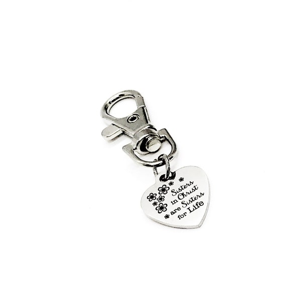 Friend Gift, Sisters In Christ Are Sisters For Life Charm, Clip On Charm, Keychain Charm, Womens Group Gift, Christian Woman Gift