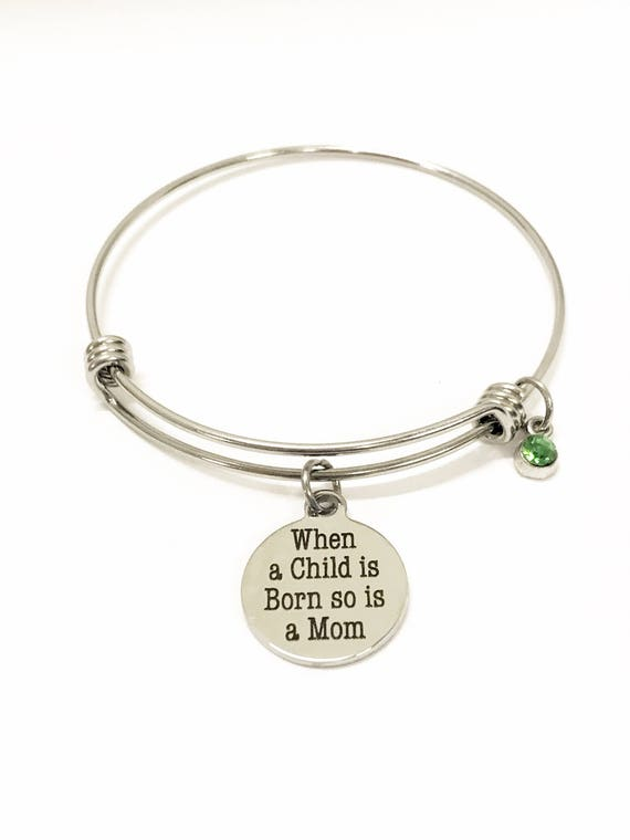 New Mother Gift, When A Child Is Born So Is A Mom Bracelet, Birthstone Bracelet, Mother Child Bracelet, Gift For Mom, New Mom Daughter Gift