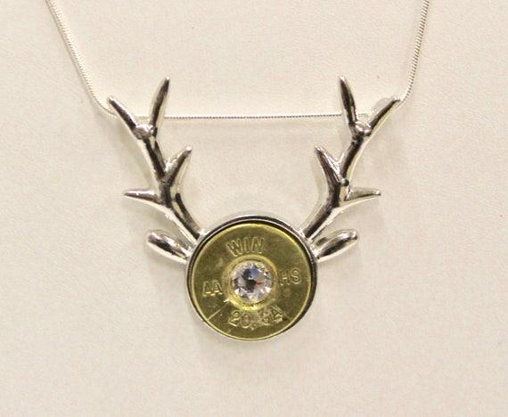 Deer Antlers Shotgun Crystal Pendant on Silver Chain, Deer Hunter, 20 Gauge Shotgun Shell Head, Gift For Her, Deer Hunting Jewelry