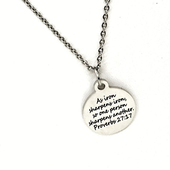 Christian Jewelry, As Iron Sharpens Iron Necklace, Proverbs 27 17, Sharpen Each Other, Bible Verse Jewelry, Christian Gift, Scripture Gift