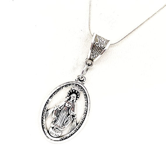Virgin Mary Necklace, Mother Mary Necklace, Catholic Gifts, Catholic Jewelry, Faith Gifts, Mary Pendant, Mary Charm, Wife Jewelry Gift