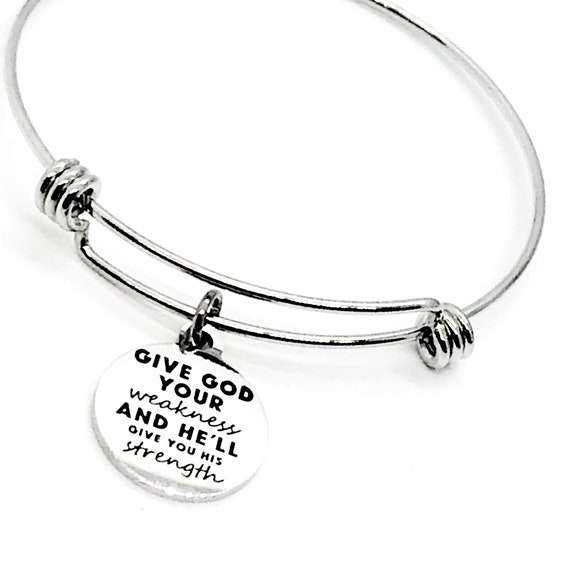 Christian Charm, Give God Your Weakness And He'll Give You His Strength Bracelet, Christian Jewelry, Christian Gift, Bible Verse Charm