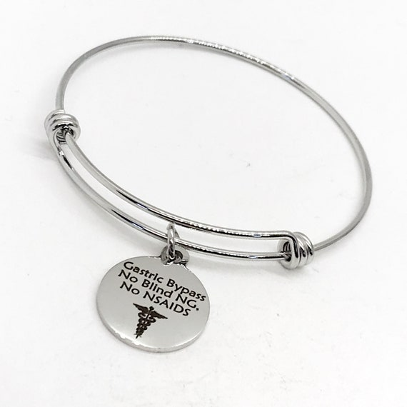 Gastric Bypass Medical Charm Bracelet, Gastric Bypass Awareness, Gastric Bypass Jewelry, No Blind NG, No NSAIDS, Medical Notification Charm