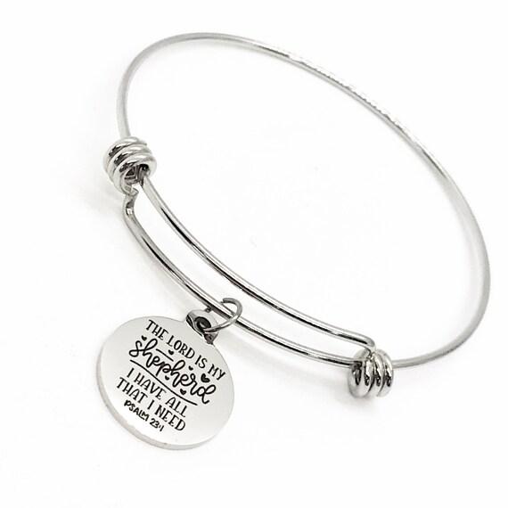 Faith Gift, The Lord Is My Shepherd Bracelet, 23rd Psalm Charm, Scripture Bracelet, Charm Bracelet, Faith Jewelry, Christian Gift