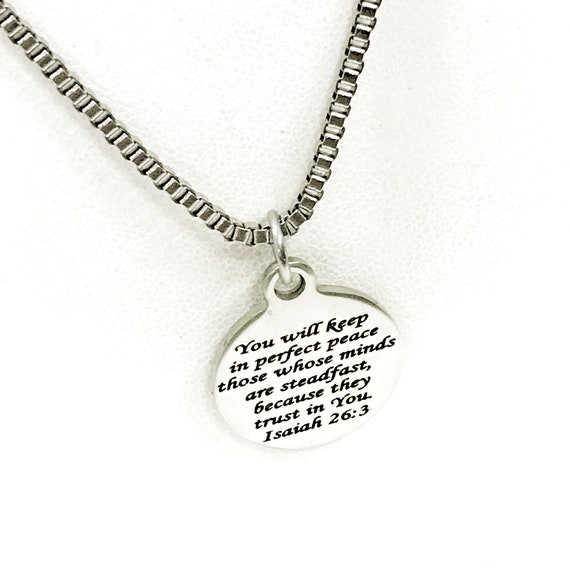 Christian Gift, You Will Keep In Perfect Peace Necklace, Isaiah 26 3, Christian Jewelry, Christian Man, Religious Gift For Him, Husband Gift