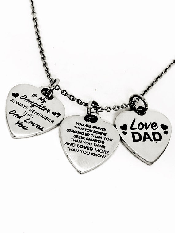 Daughter Necklace, Daughter Gift From Dad, Braver Stronger Smarter Loved Necklace, Dad Loves You Necklace, Daughter Jewelry