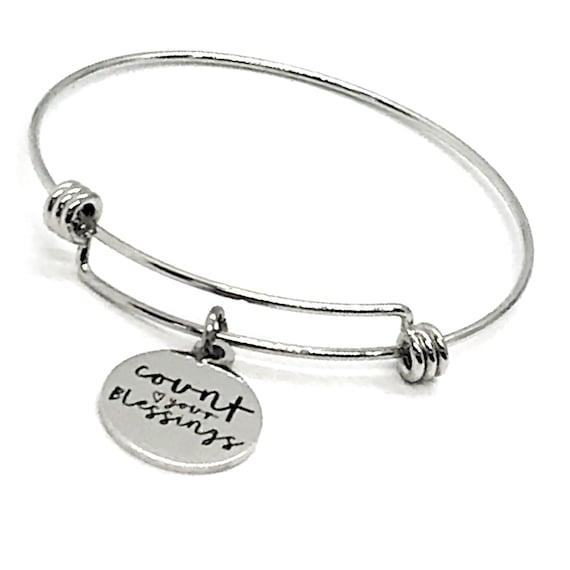 Christian Bracelet, Count Your Blessings Bracelet, Christian Gift, Stacking Bracelet, Christian Charm Bracelet, Expanding Bangle Bracelet