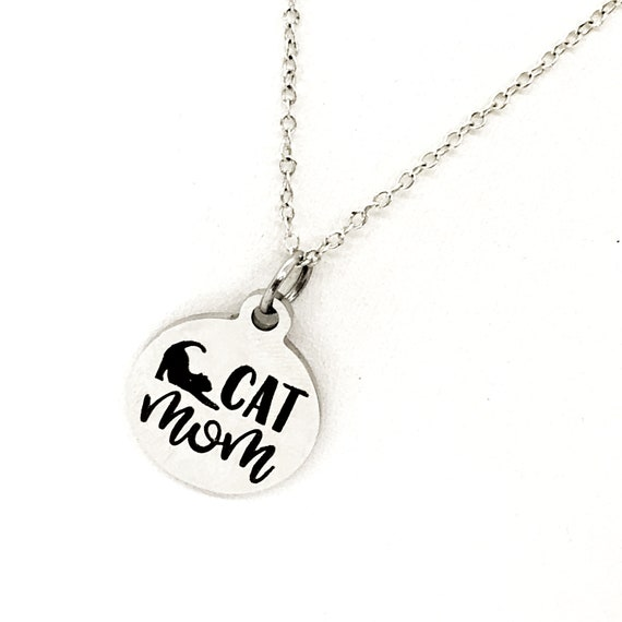Cat Mom Gift, Cat Mom Necklace, Cat Mom Jewelry, Stainless Necklace, Cat Owner Gift, New Cat Owner, Cat Charm Necklace