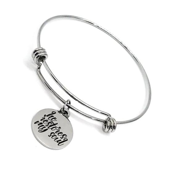 Faith Gift, He Restores My Soul Bracelet, Restoration Gift, Baptism Gift, Confirmation Gift, Stacking Bangle, Charm Bracelet, Faith Jewelry