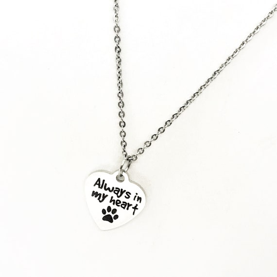 Pet Memorial Gift, Always In My Heart Necklace, Pet Loss Gift, Dog Loss Gift, Cat Loss Gift, Dog Memorial, Cat Memorial, Stainless Necklace