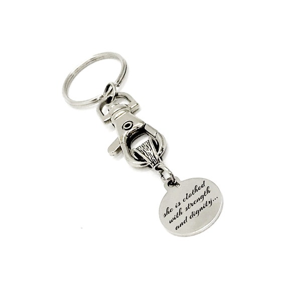 Christian Gift, She Is Clothed In Strength And Dignity And Laughs Without Fear Of The Future Keychain, Christian Woman, Faith Gift, C848