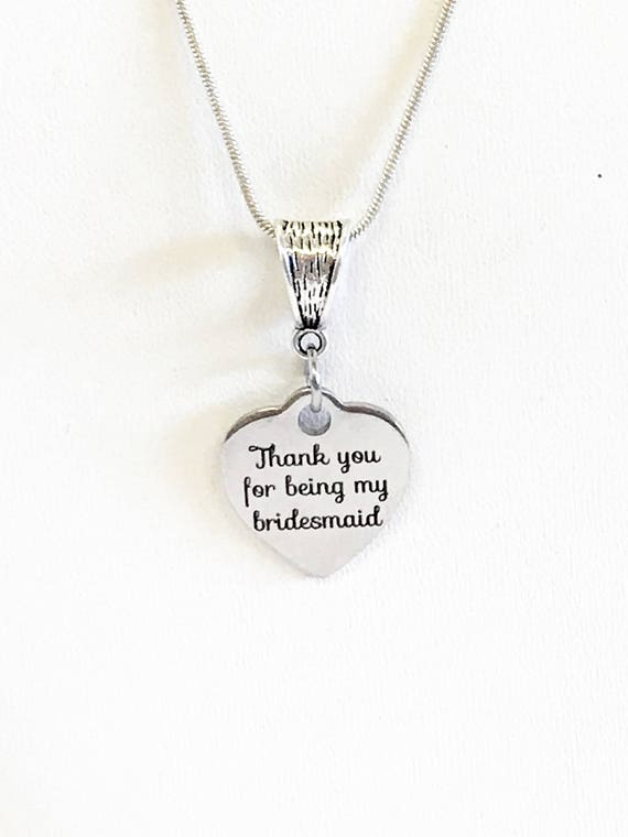 Thank You For Being My Bridesmaid Necklace, Bridesmaid Gifts, Bridesmaid Jewelry, Wedding Party Gifts For Her, Bridesmaid Wedding Jewelry