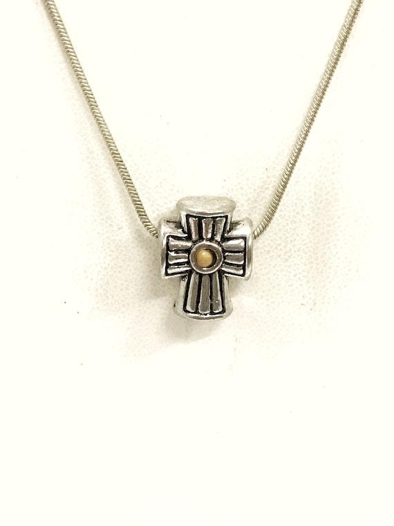 Mustard Seed Necklace, European Bead Cross Necklace, Mustard Seed Faith, Matthew 17 20 Scripture Gift, Faith Jewelry, Christian Jewelry