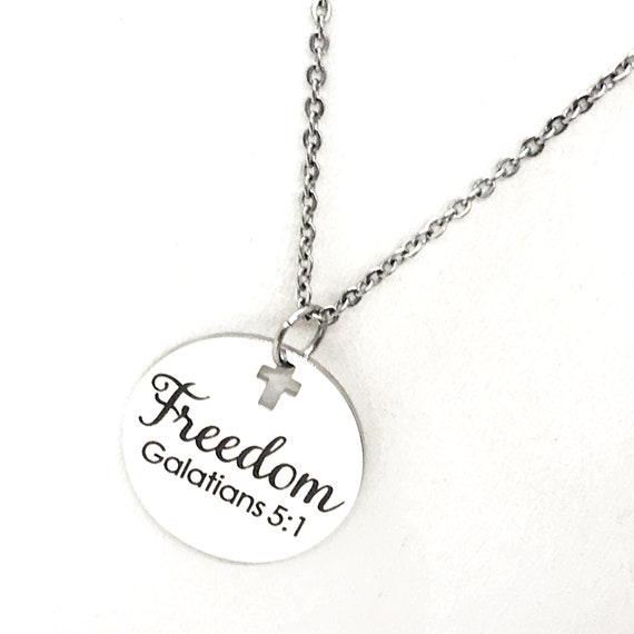 Faith Gift, Freedom Necklace, Galatians 5 1 Necklace, Scripture Gift, Bible Verse Gift, Scripture Charm, Scripture Quote, Freedom in Christ