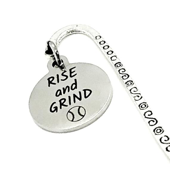 Bookmark Gift, Rise And Grind Bookmark, Baseball Bookmark, Student Athlete Gift, Basball Player Gift, Baseball Charm Bookmark